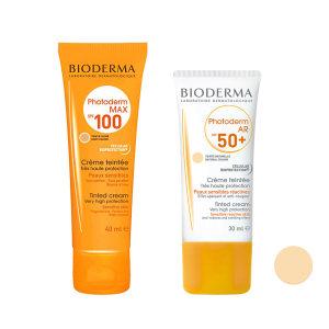 کرم ضد آفتاب بایودرما مدل max100L حجم 40 میلی لیتر به همراه کرم ضد آفتاب مدل AR حجم 30 میلی لیتر