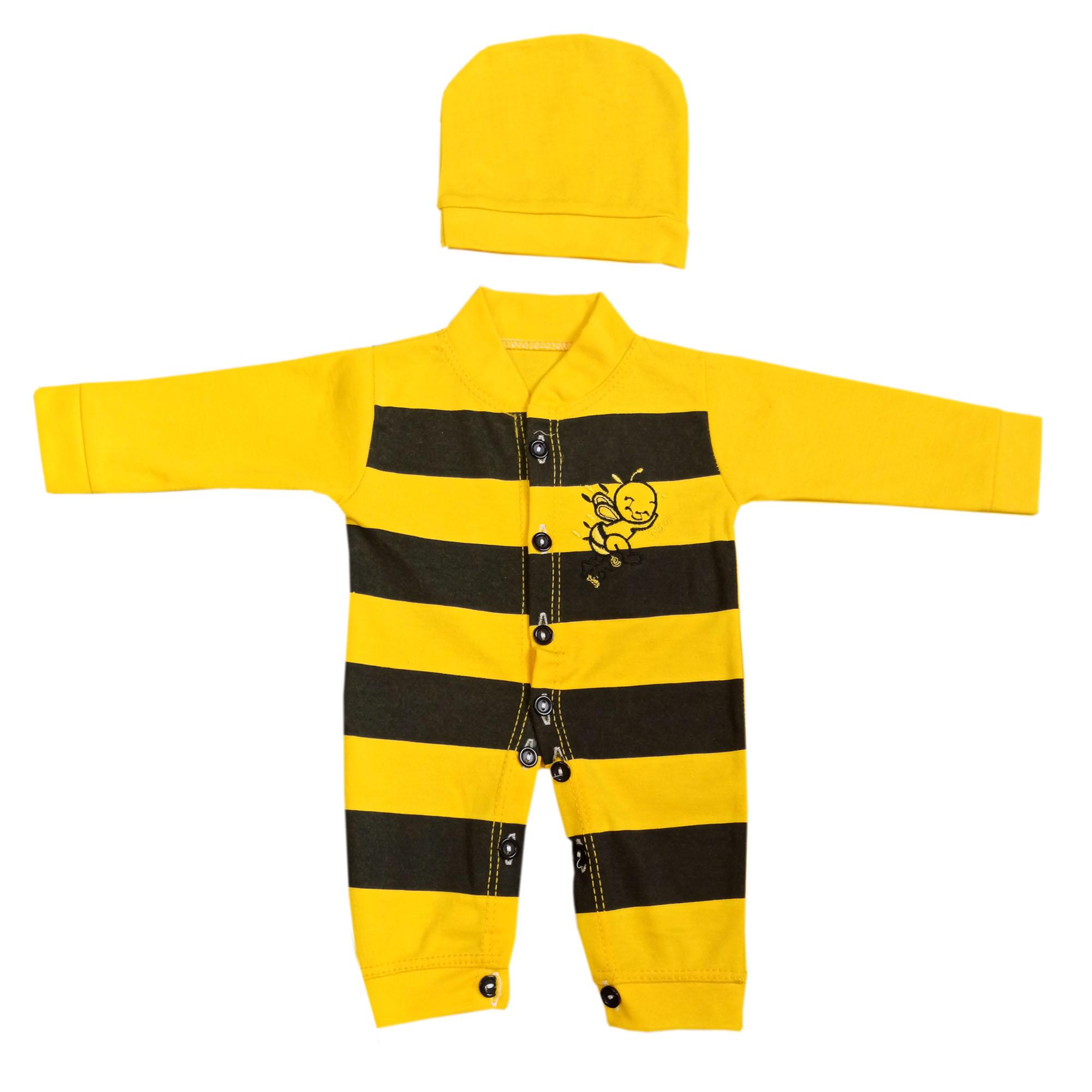 ست سرهمی و کلاه نوزادی طرح زنبور کد msa-12