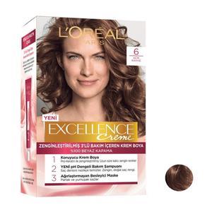 کیت رنگ مو لورآل سری Excellence شماره 6 حجم 48 میلی لیتر رنگ قهوه ای روشن
