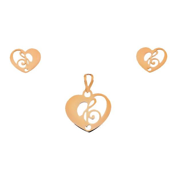 نیم ست طلا 18 عیار زنانه آمانژ مدل قلب کد D9226