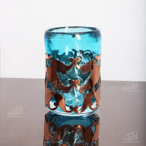 لیوان شیشه گری فوتی آرانیک مشبک مسآبی مدل 1017100003