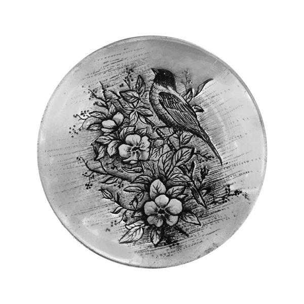 بشقاب دیوارکوب قلمزنی طرح گل و مرغ کد 2