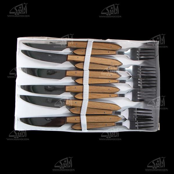 کارد و چنگال کاربردی چوبی قهوه ای روشن مدل 1010100001