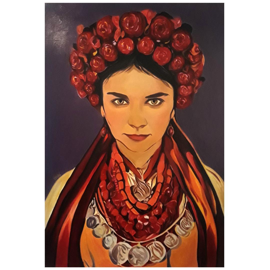 تابلوی نقاشی رنگ و روغن مدل زن تاج دار
