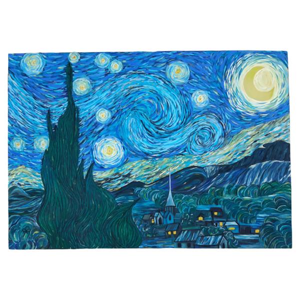 تابلو نقاشی رنگ روغن طرح شب پر ستاره ونسان ون گوگ کد 12