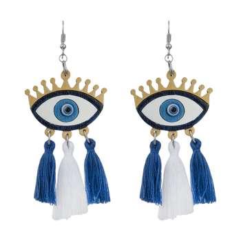 گوشواره زنانه طرح چشم نظر کد 012
