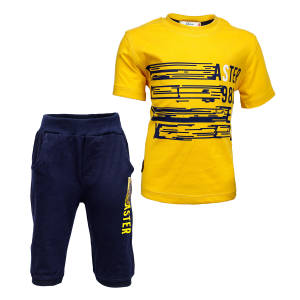 ست تی شرت و شلوارک پسرانه طرح FASTER کد 99 رنگ زرد