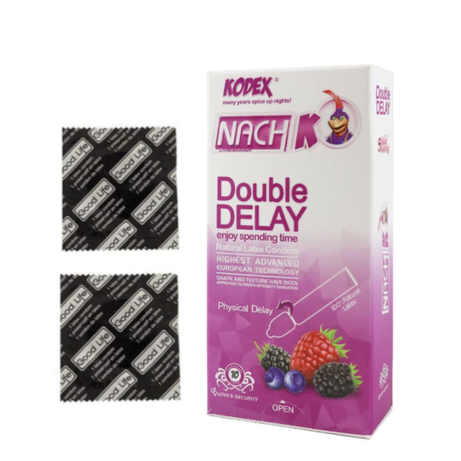 کاندوم  گودلایف مدل Super Delay مجموعه 2 عددی به همراه کاندوم ناچ کدکس مدل Double  Delay بسته 10 عددی