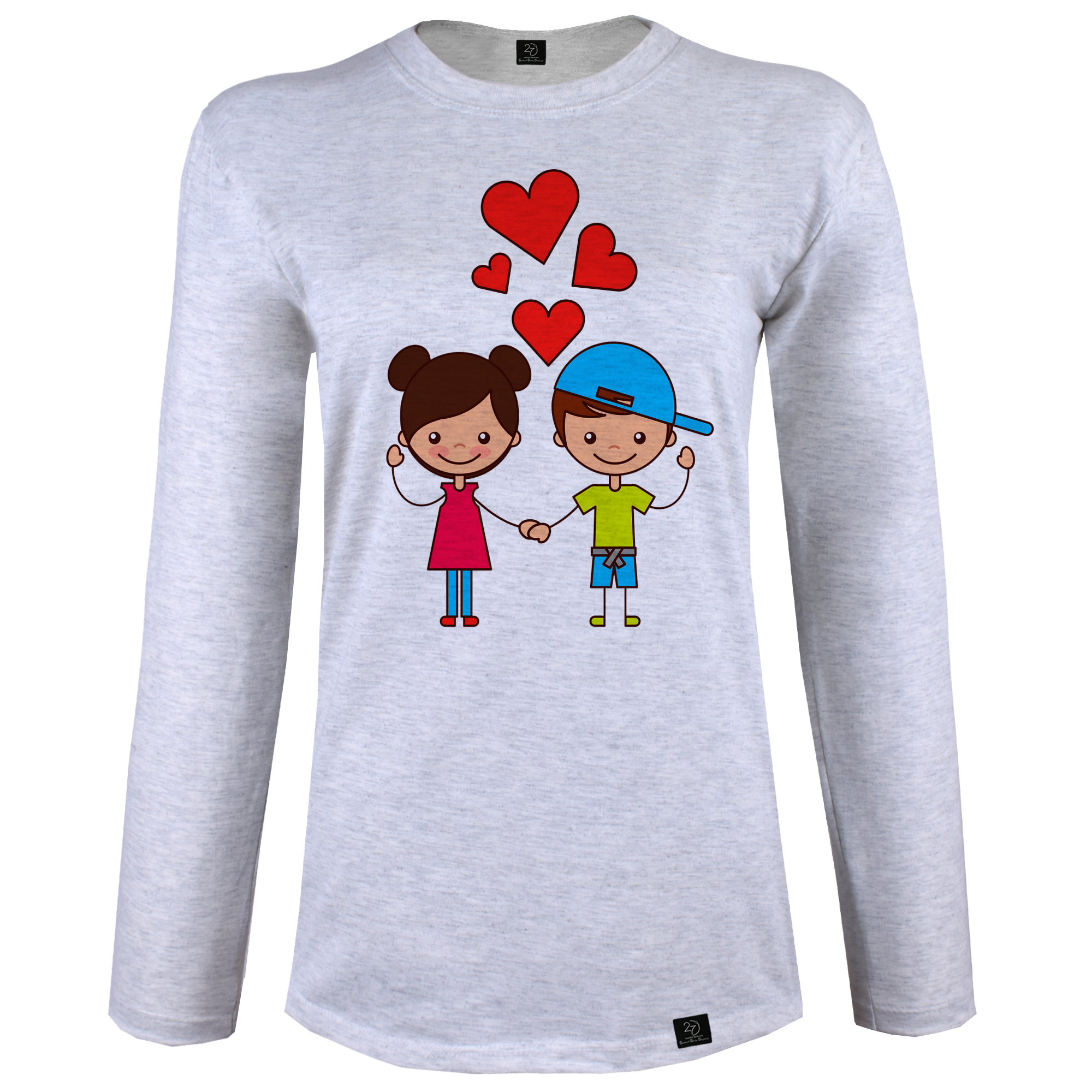 تی شرت آستین بلند زنانه 27 طرح LOVE کد J10 رنگ طوسی روشن