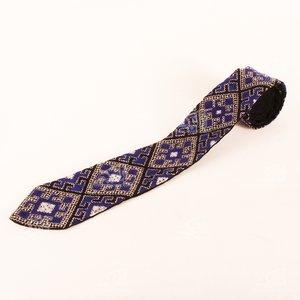 کراوات سوزن دوزی بلوچ  آبی تیره طرح هندسی مدل 1206900002