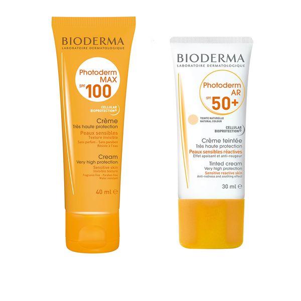 کرم ضد آفتاب بایودرما مدل C100 حجم 40 میلی لیتر به همراه کرم ضد آفتاب مدل AR حجم 30 میلی لیتر