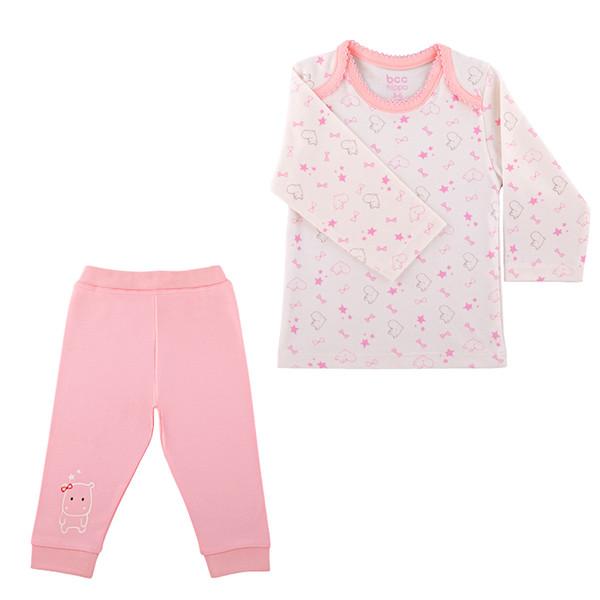 ست تی شرت و شلوار نوزادی دخترانه بی سی سی طرح Hippo