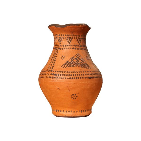 گلدان سفالی نقاشی با تیتوک  قهوه ای طرح شهر سوخته مدل 1015800001