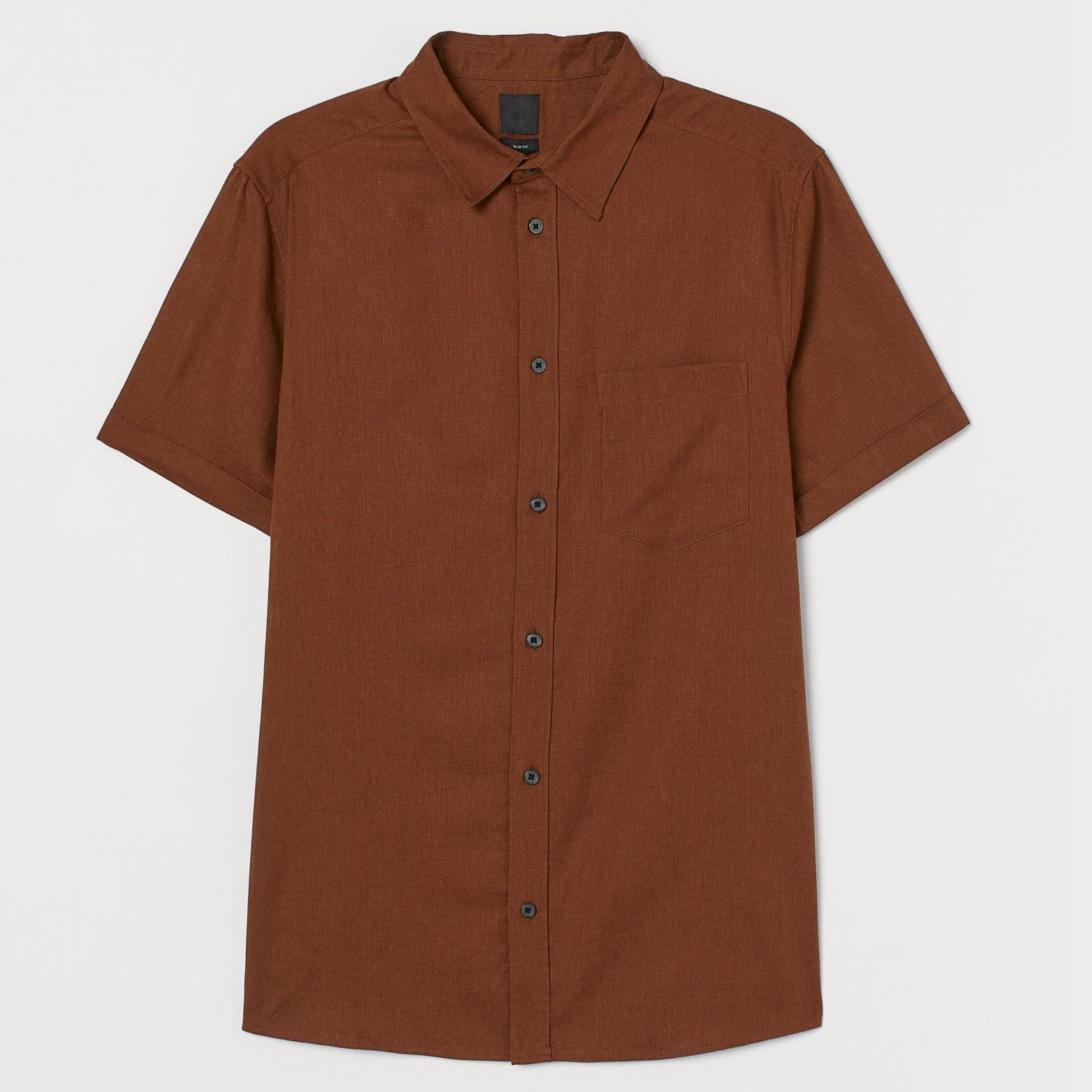 پیراهن آستین کوتاه مردانه اچ اند ام مدل 0805778002