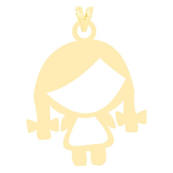 آویز گردنبند طلا 18 عیار زنانه کرابو طرح دختر بچه مدل Kr3796