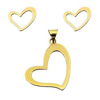 نیم ست طلا 18 عیار زنانه گالری مرجان طرح قلب مدل 0925