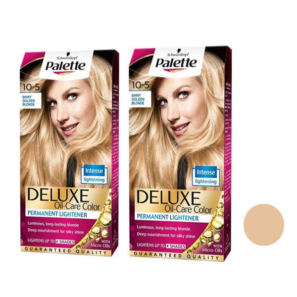 کیت رنگ مو پلت سری DELUXE شماره 5-10 حجم 50 میلی لیتر رنگ بلوند طلایی خیلی روشن مجموعه 2 عددی