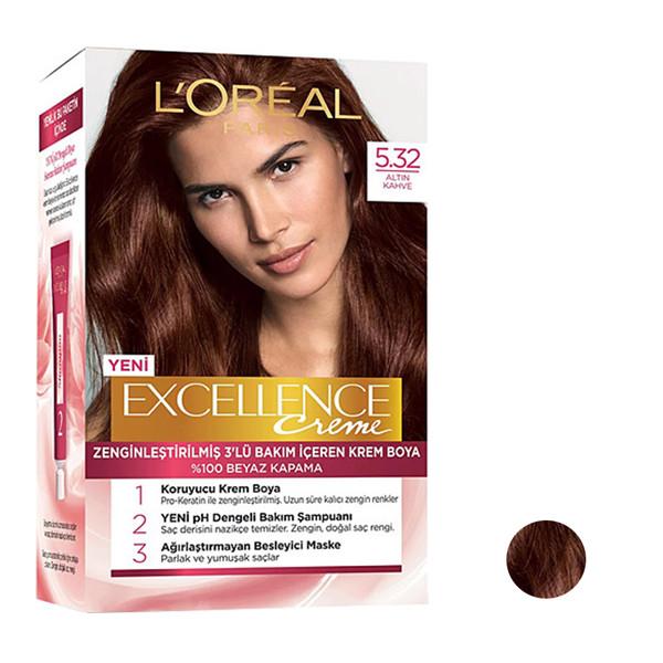 کیت رنگ مو لورآل مدل Excellence شماره 5.32 رنگ قهوه ای روشن