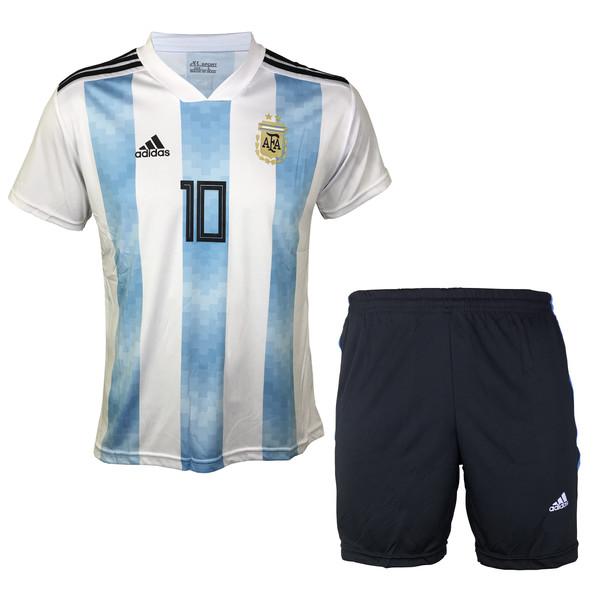 ست پیراهن و شورت ورزشی مردانه ای آر اسپورت طرح تیم ملی آرژانتین مدل مسی کد 01