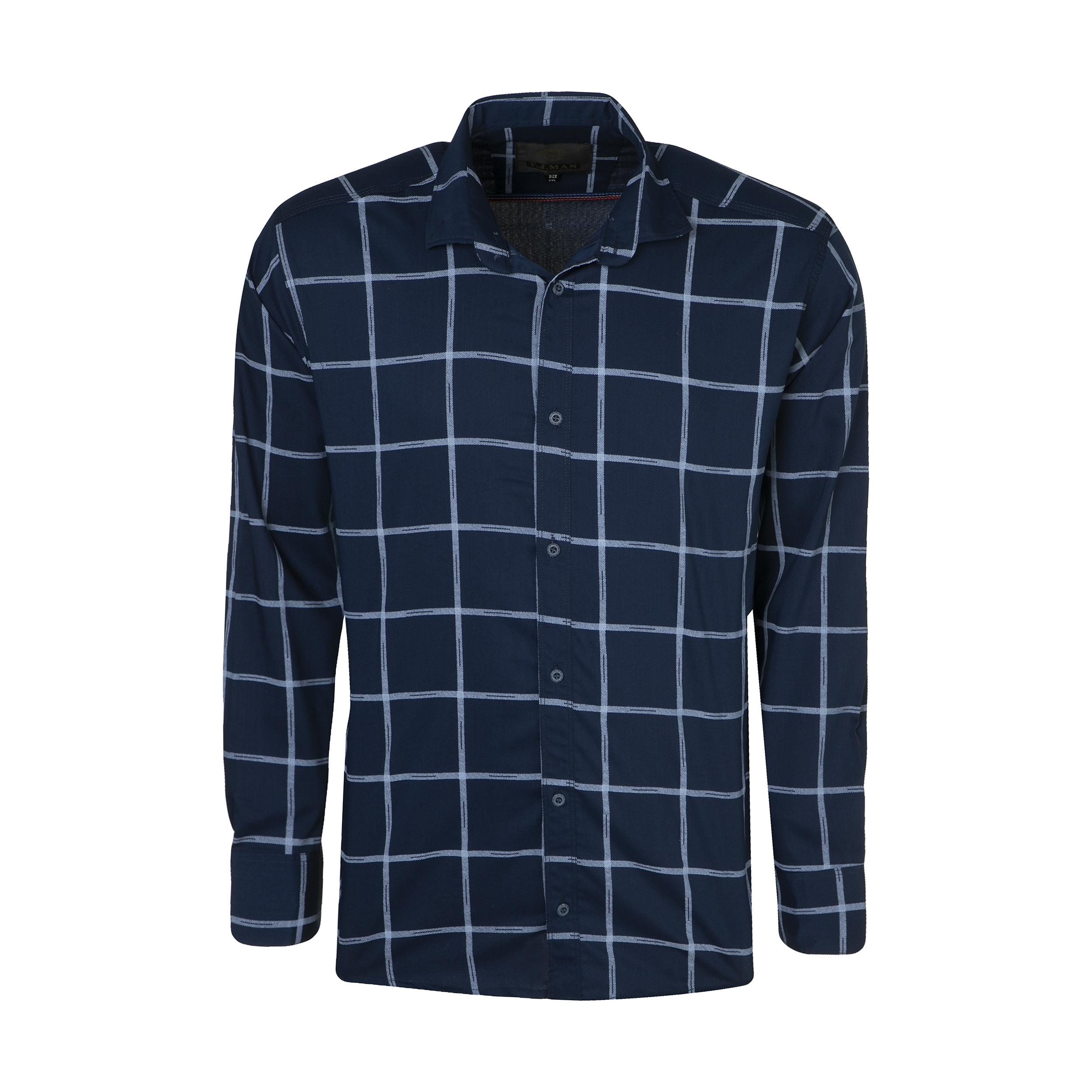 پیراهن آستین بلند مردانه مدل PVLF ASRIN رنگ سرمه ای