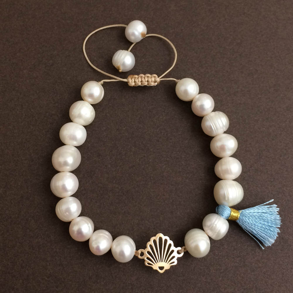 دستبند طلا 18 عیار زنانه الماسین آذر کد SADAF03
