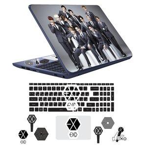استیکر لپ تاپ مدل EXO مناسب برای لپ تاپ 17 اینچ به همراه برچسب حروف فارسی کیبورد