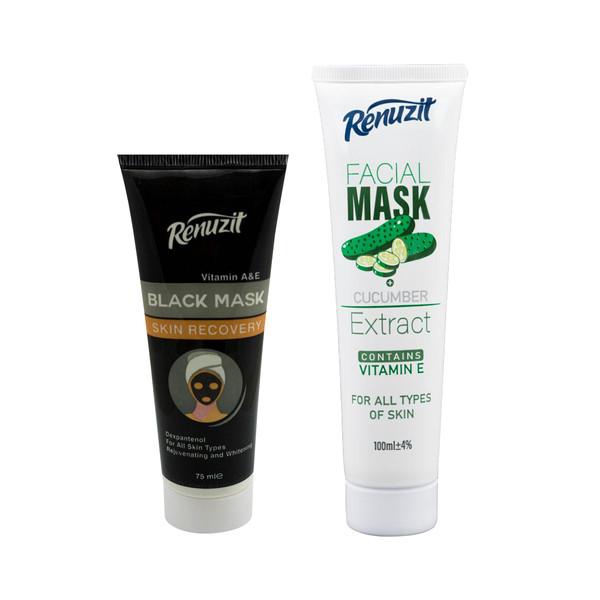 ماسک صورت رینوزیت مدل Black carbon active حجم 75 میلی لیتر به همراه ماسک صورت رینوزیت مدل CUCUMBER حجم 100 میلی لیتر
