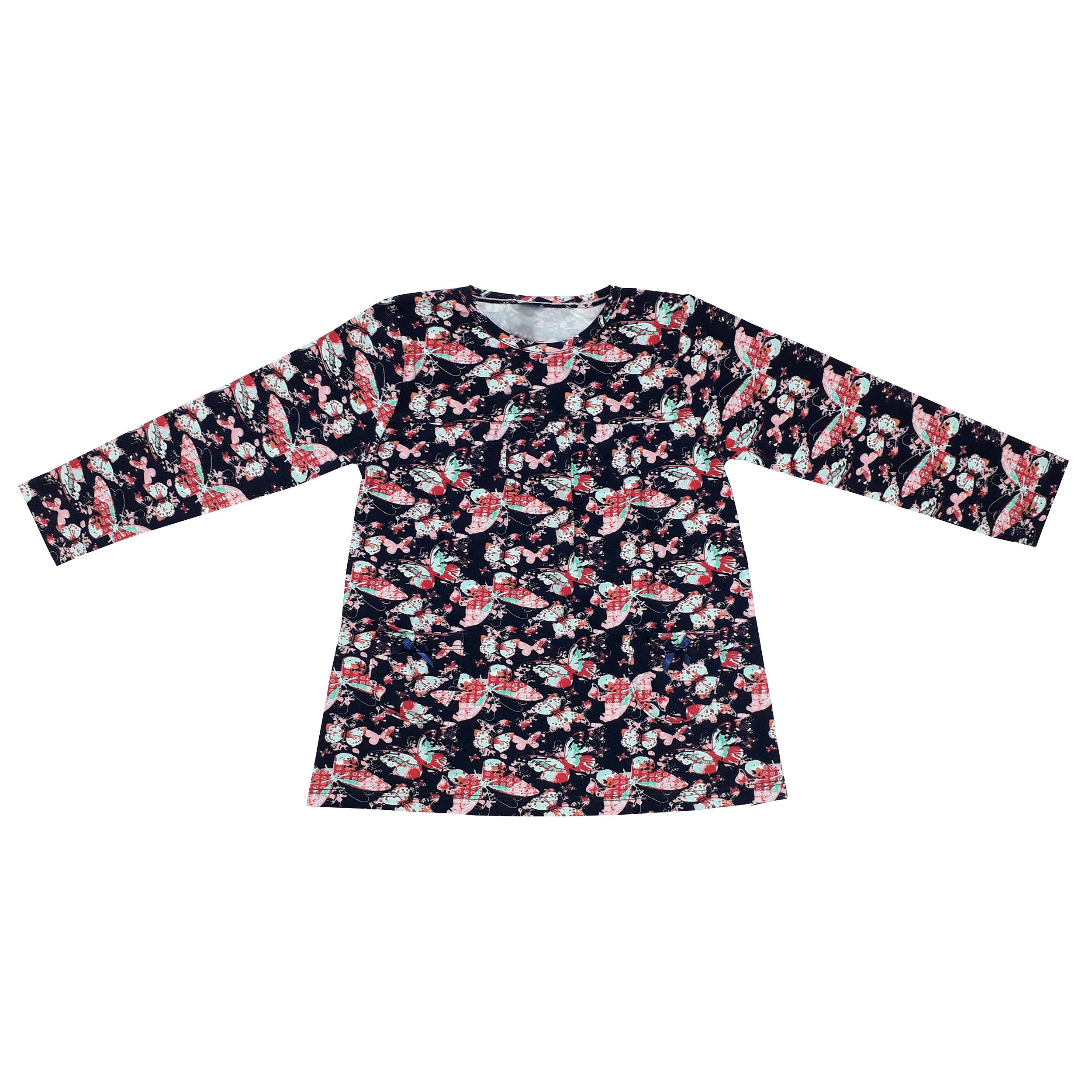 ست تی شرت و شلوار دخترانه طرح پروانه کد 3069 رنگ سرمه ای -  - 4