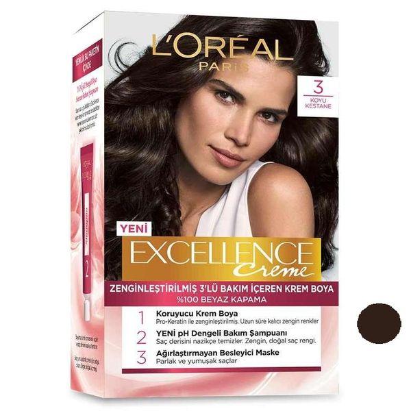 کیت رنگ مو لورآل مدل Excellence شماره 3 حجم 48 میلی لیتر رنگ قهوه ای تیره