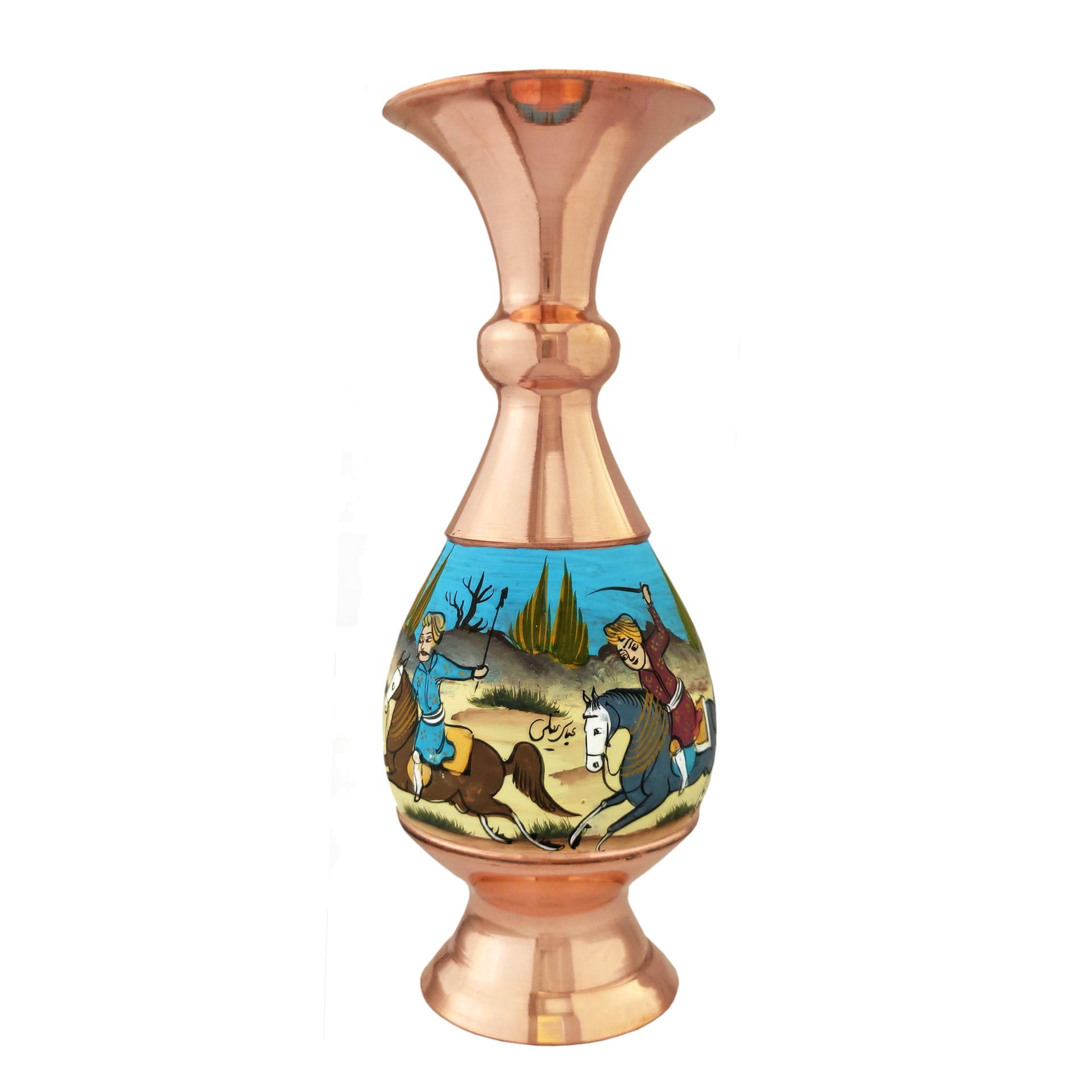 خرید                      گلدان مسی طرح شکار کد 1603