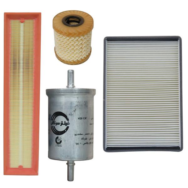 فیلتر هوا خودرو سرکان مدل SF1223 به همراه فیلتر روغن و فیلتر کابین و فیلتر بنزین مناسب برای پژو پارس TU5