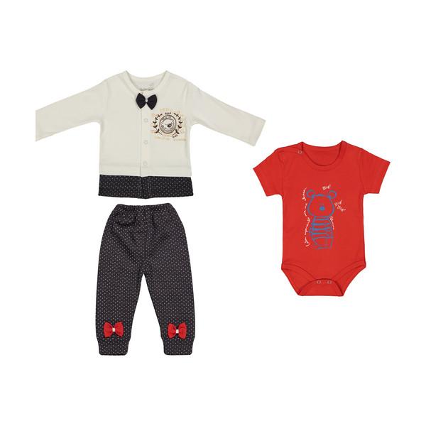 ست 3 تکه لباس نوزاد بی بی وان مدل خرس کد 494