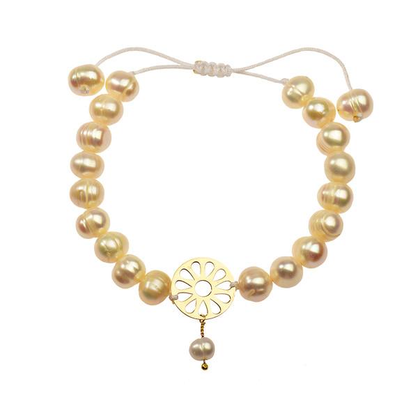 دستبند طلا 18 عیار دخترانه کرابو طرح مروارید مدل Krd1041