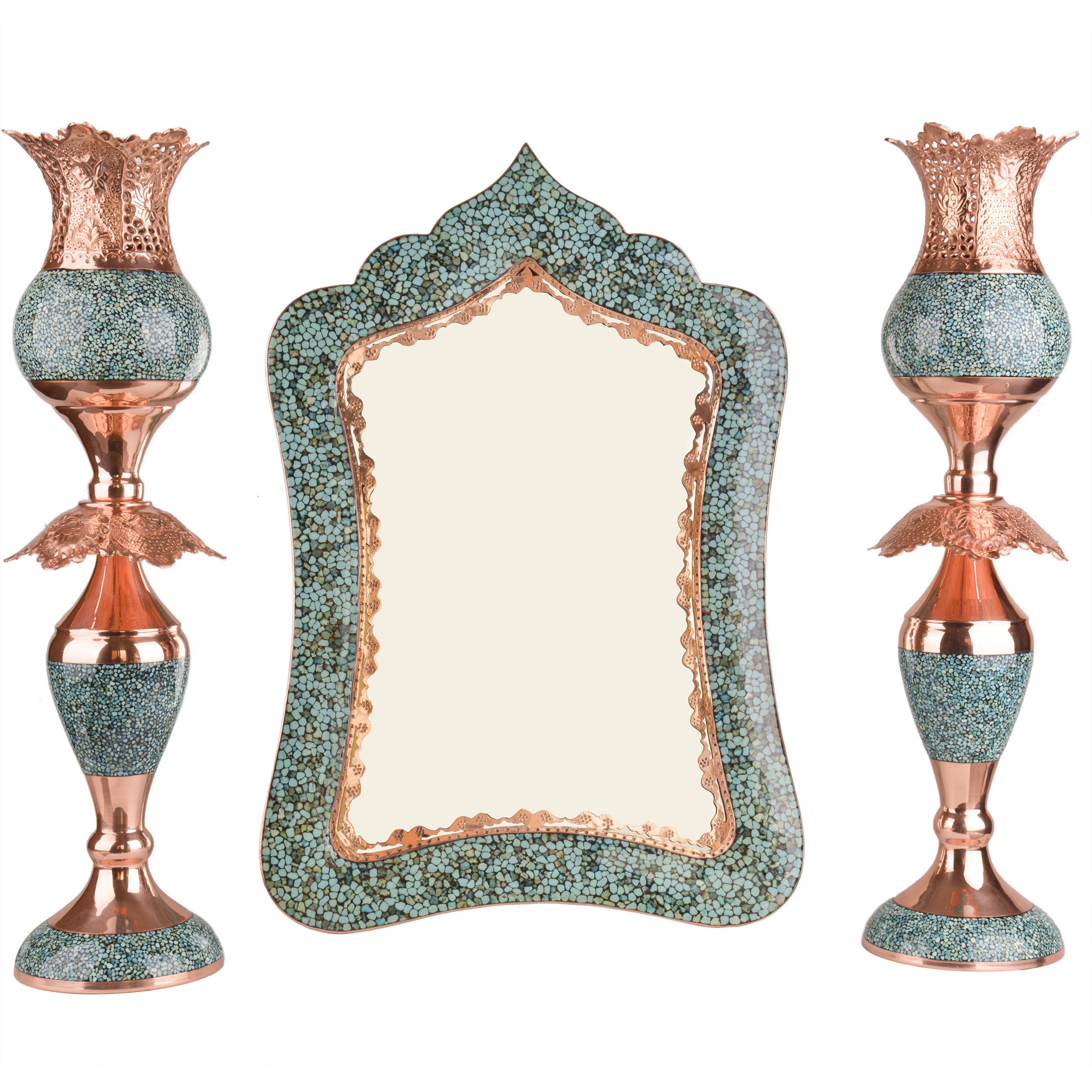 ست 3 تکه آینه و شمعدان فیروزه کوبی هنرلوکس مدل لاله کد S3