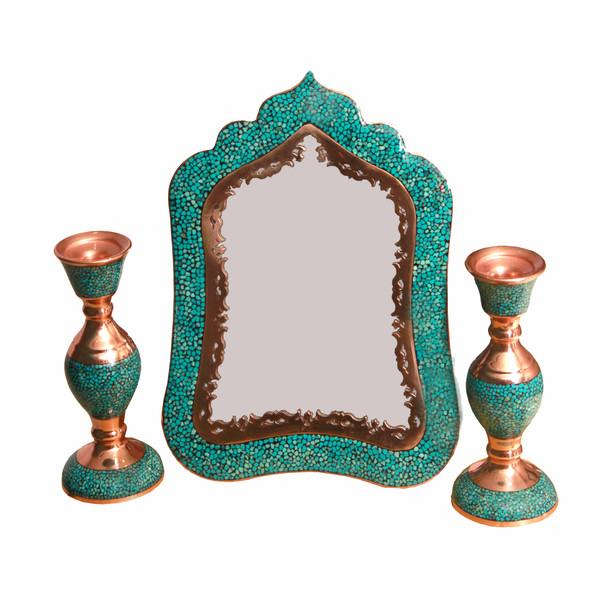 ست آینه و شمعدان فیروزه کوبی کد 2515