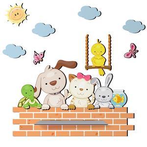 شلف دیواری اتاق کودک ژیوار مدل دیوار حیوانات کد sh-24