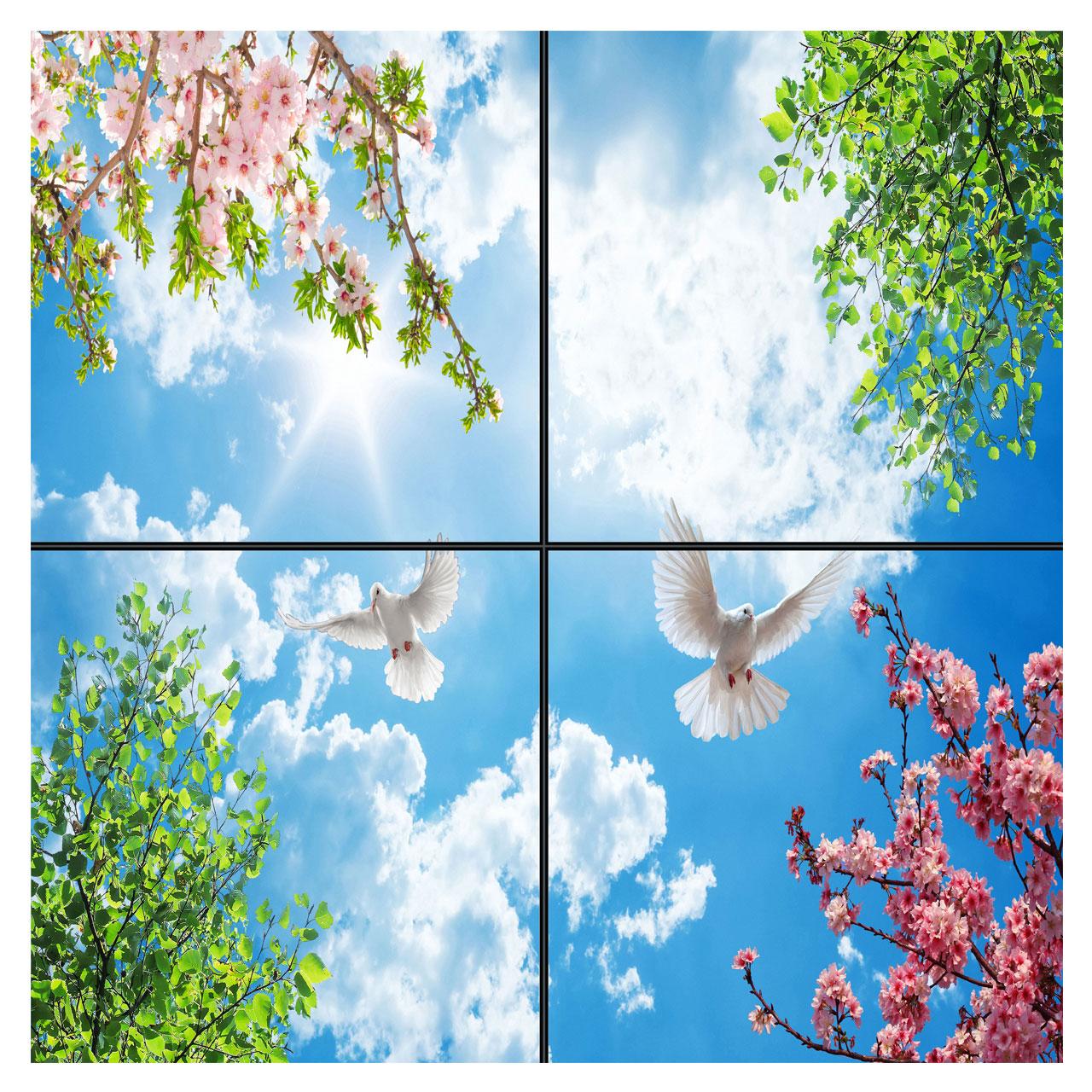 تایل سقفی آسمان مجازی طرح پرواز و آسمان کد 0200 سایز 60x60 سانتی متر مجموعه 4 عددی