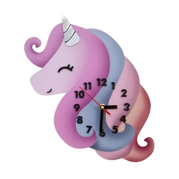 ساعت دیواری کودک طرح اسب تک شاخ کد 180010