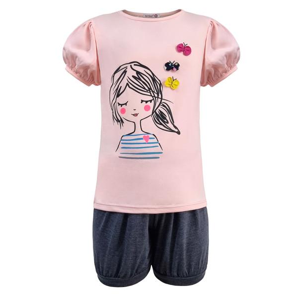 ست تی شرت و شلوارک دخترانه افراتین مدلپروانه رنگ صورتی روشن
