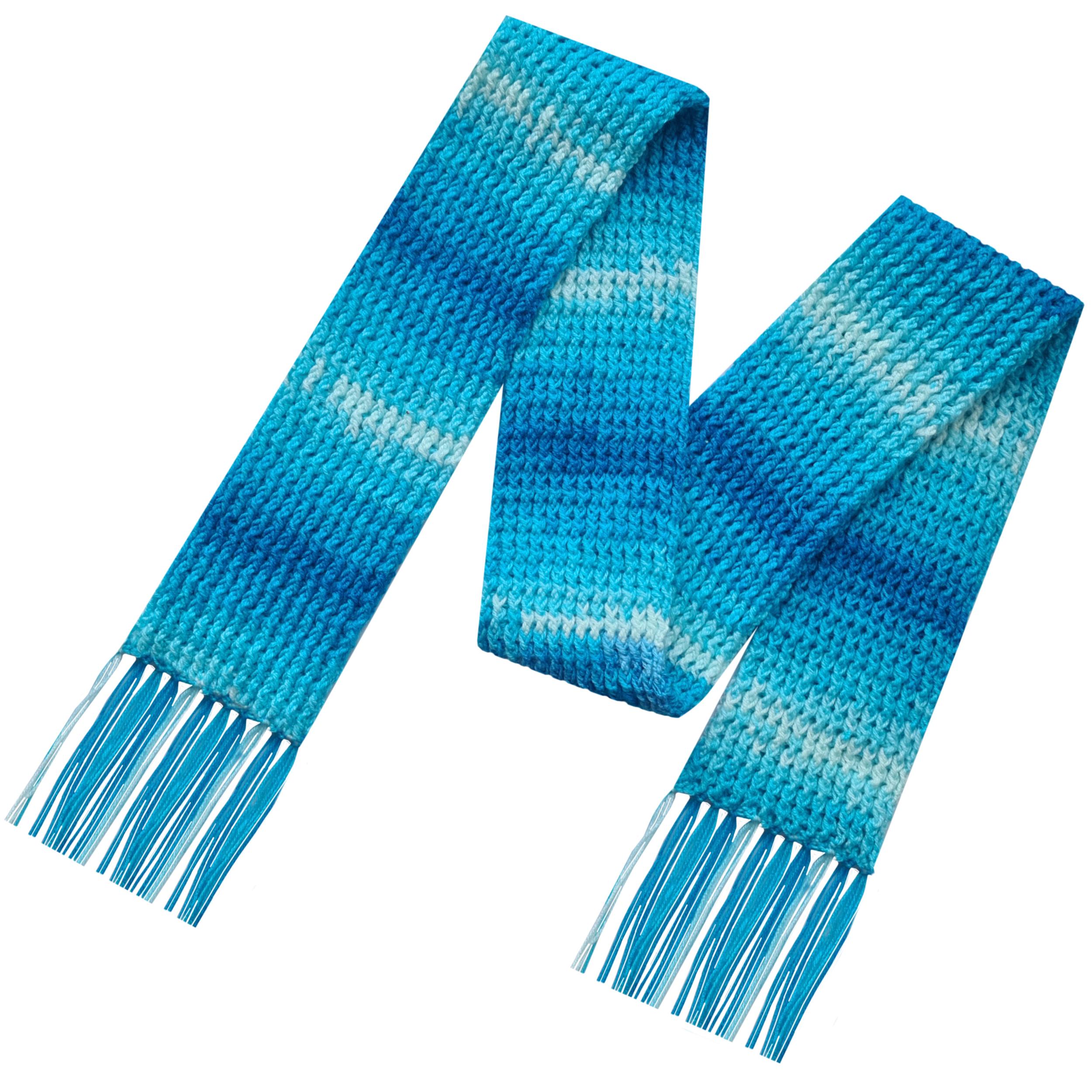 شال گردن بافتنی مدل یالمان رنگ آبی