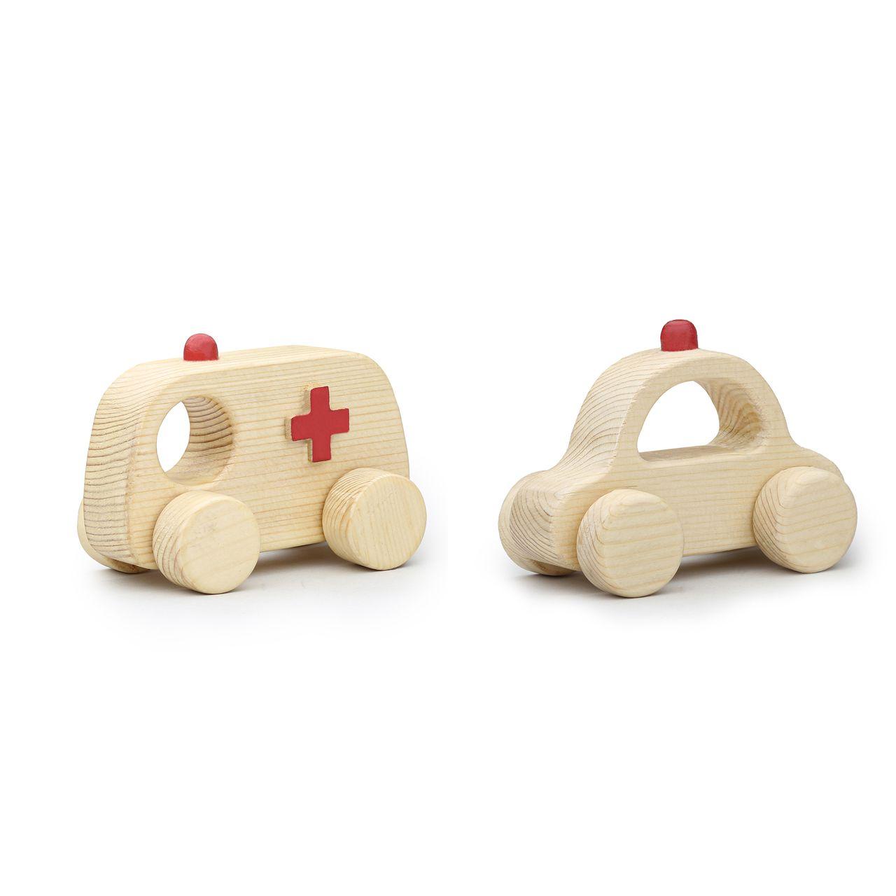 اسباب بازی چوبی مدل آمبولانس و پلیس کد 43019 مجموعه 2 عددی