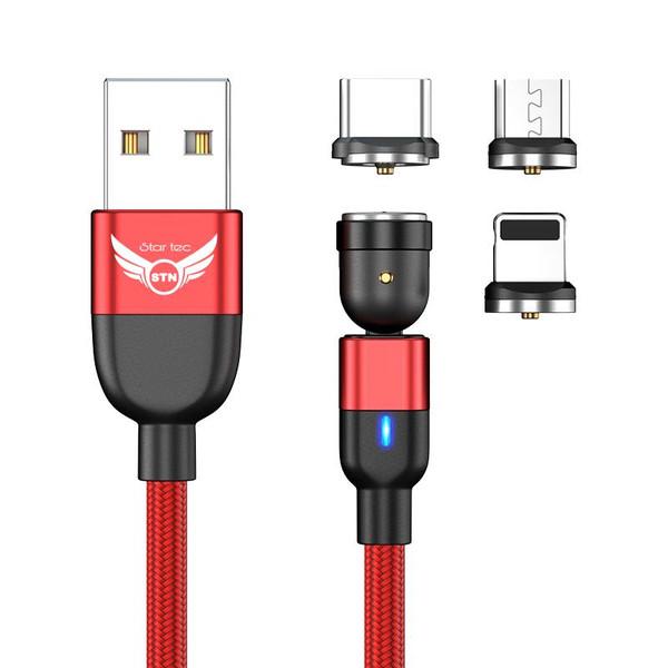 کابل تبدیل USB به USB-C/ لایتنینگ /  microUSB استارتک مدل 540درجه طول 1 متر