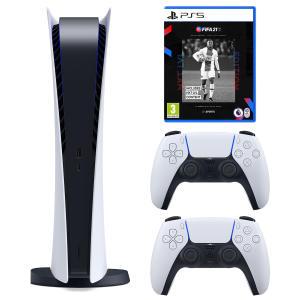 مجموعه کنسول بازی سونی مدل PlayStation 5 Digital ظرفیت 825 گیگابایت به همراه بازی فیفاPS5 21