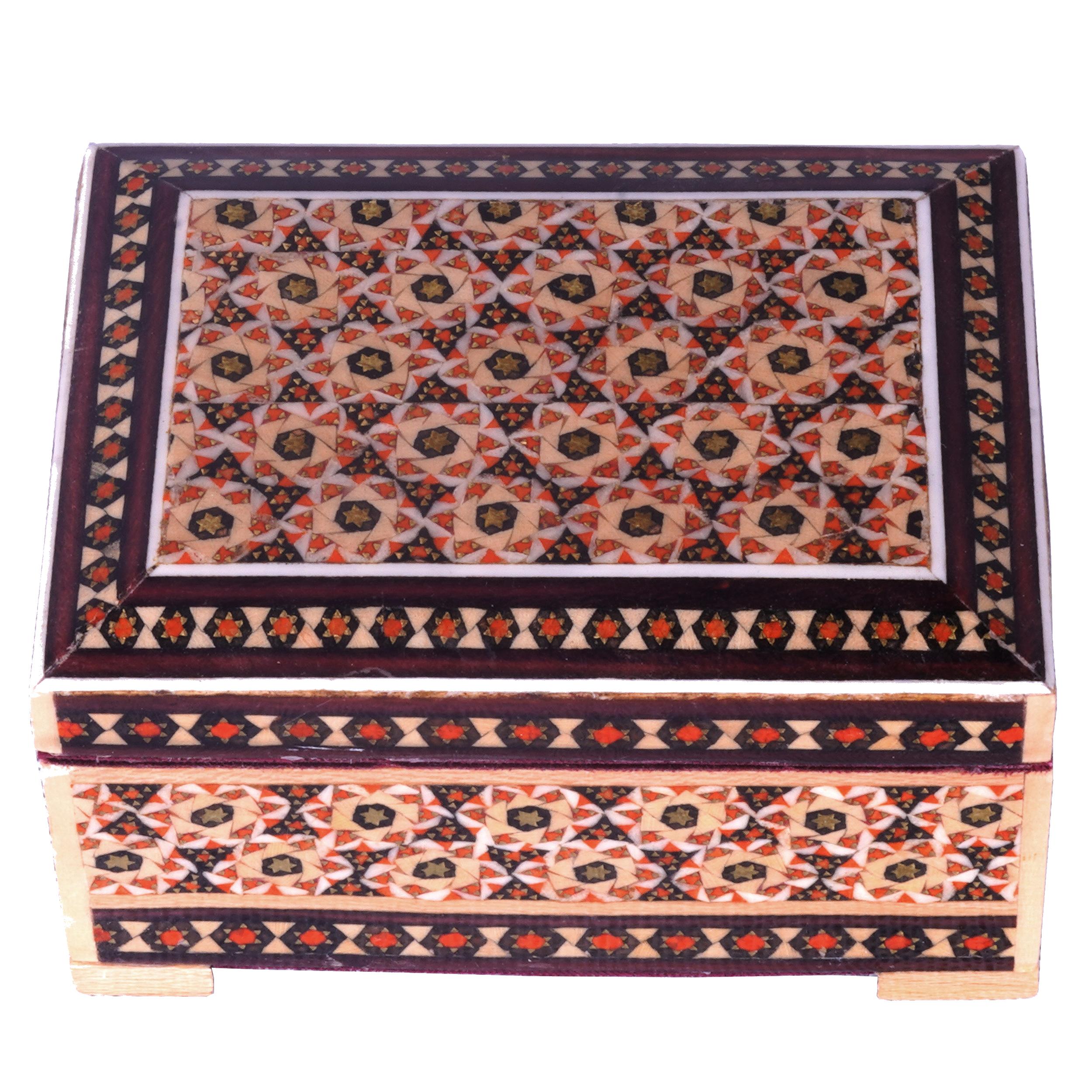 خرید                      جعبه جواهرات خاتم کاری کد 28