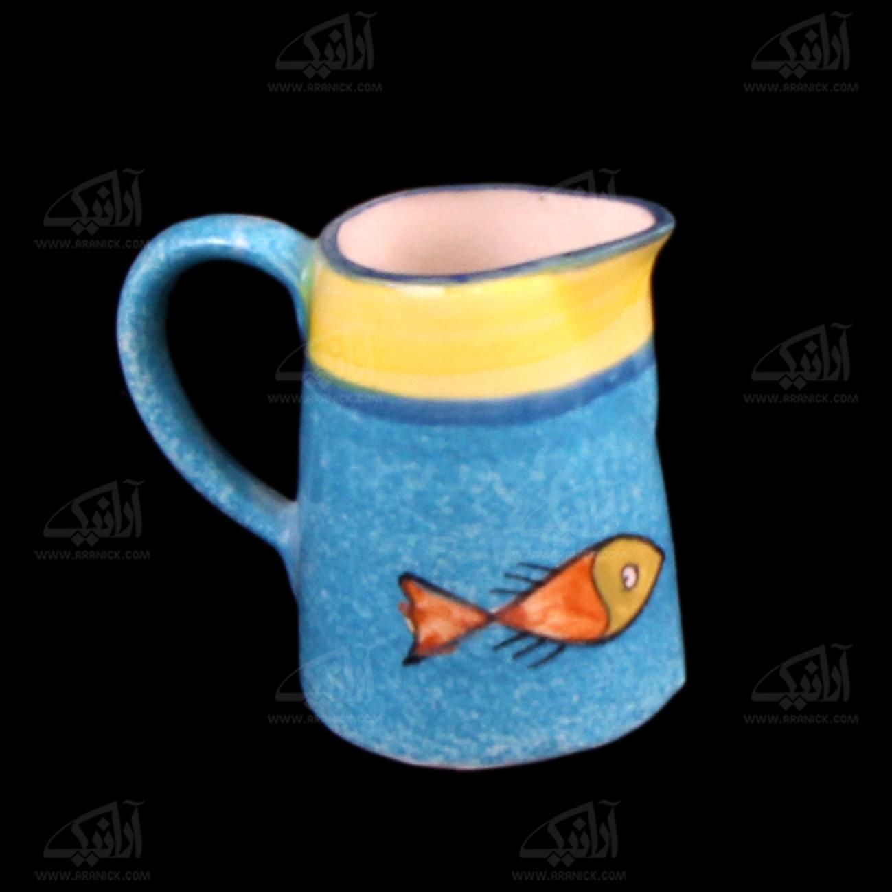 سس خوری سفالی نقاشی زیر لعابی رنگارنگ طرح ماهی مدل 1015400001