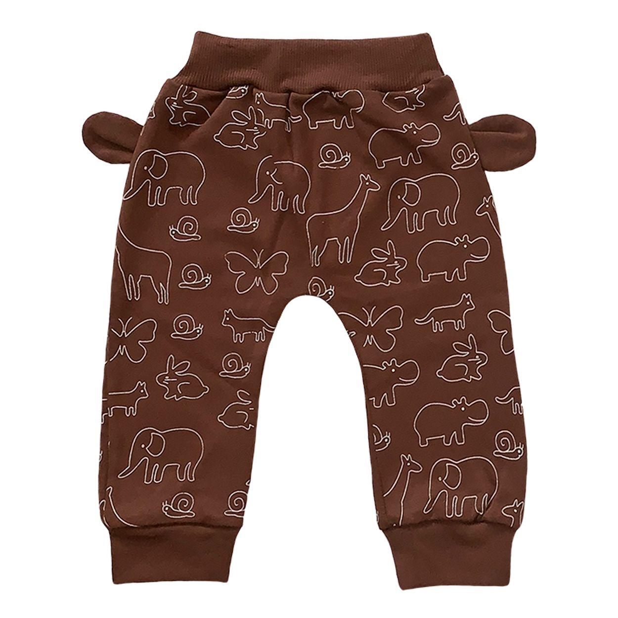 ست تی شرت و شلوار نوزادی طرح حیوانات کد FF-083  -  - 4