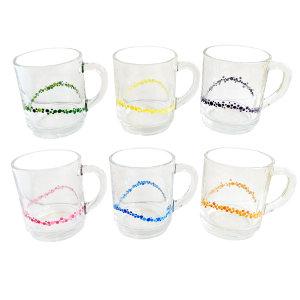 لیوان شیشه ای طرح حباب بسته 6 عددی