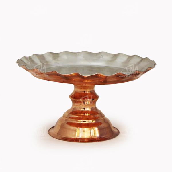 شیرینی خوری مسی آرانیک پایه دار رنگ نقره ای  طرح کنگره ای  مدل 1007200034