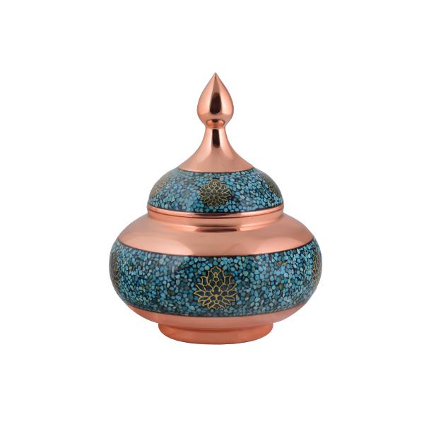 AGHAJANI HANDICRAFTS Turquoise inlaying sugar/ candy pot dish, Toranj Model, code TF111