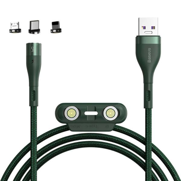 کابل تبدیل USB به USB-C/microUSB-لایتنینگ باسئوس مدل CA1T3-AG1 طول 1 متر